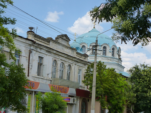 View of the dome of the Cathedral from the street.