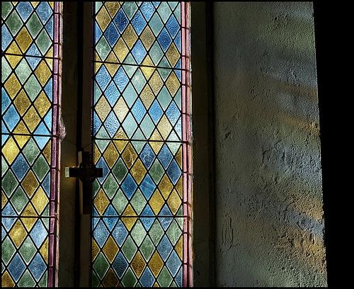 Window, Cefnllys church, interior view